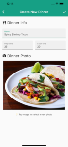 Family Dinner Picker app create new dinner screen