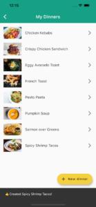 Family Dinner Picker app dinners list screen